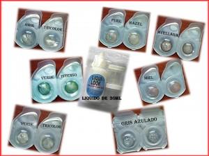 combo lentes de contacto + liquido y estuches ( tú eliges el color)