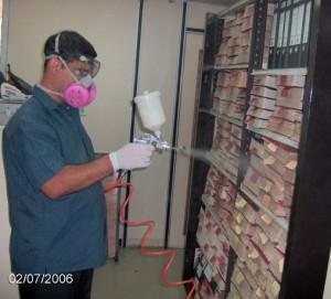 descontaminación de bibliotecas